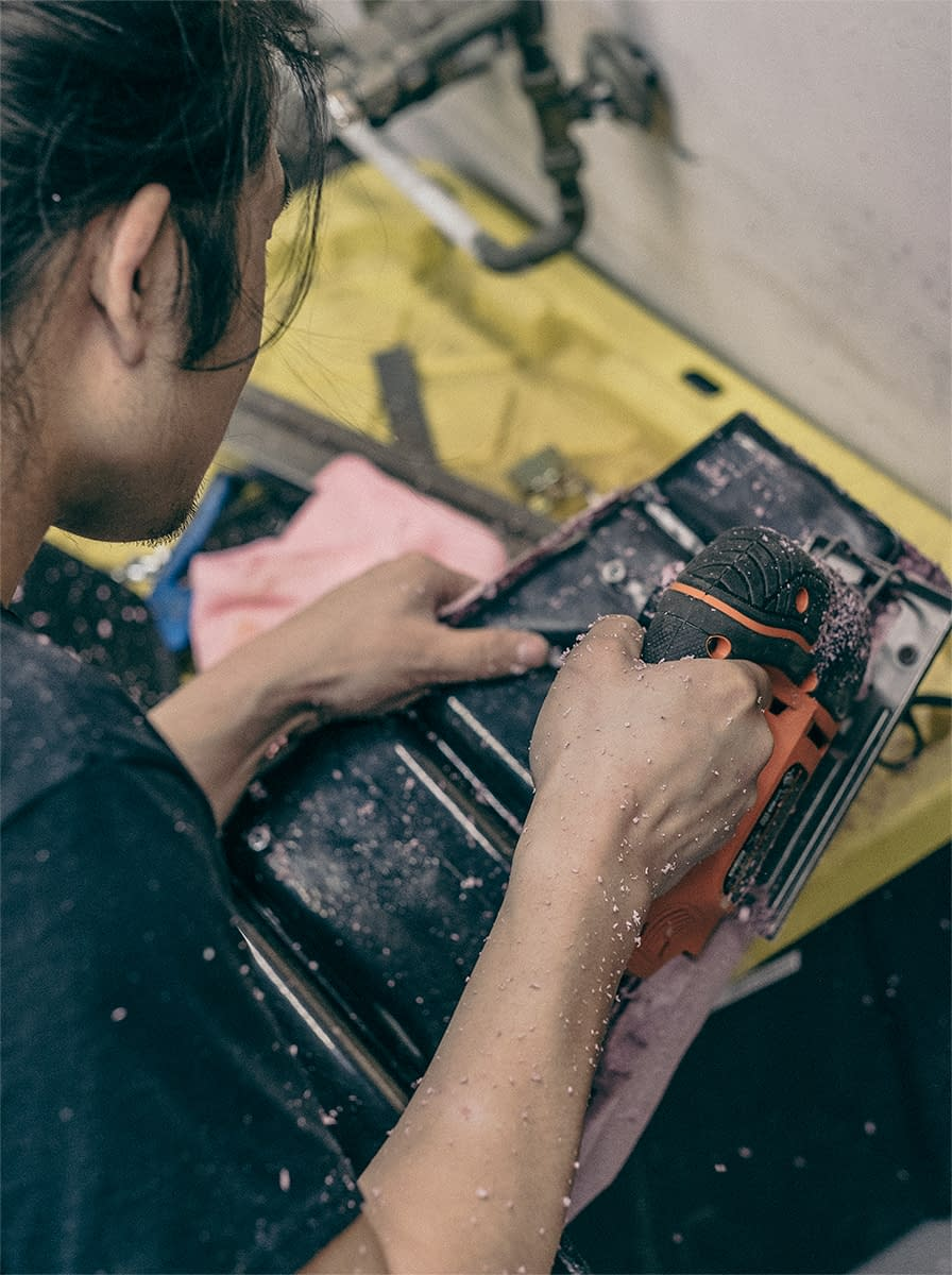 Bob Cao, working on the seat pan design for the Honda Rebel